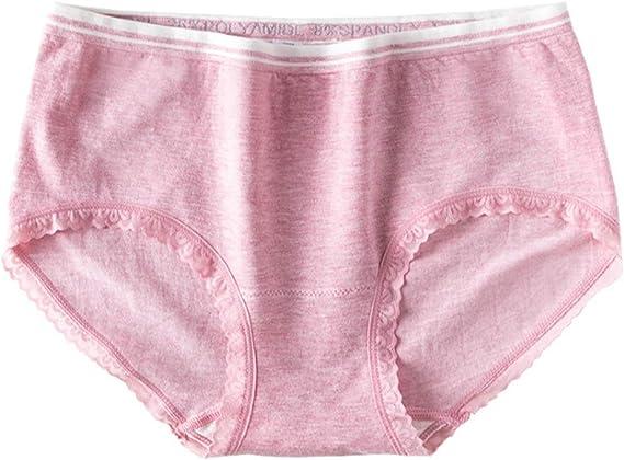 JAZ6 Bragas para Mujer (Pack de 3/6) Bragas de algodón Antibacteriano Bragas de Bikini de Encaje Sexy de Cintura Alta para Mujeres Calzoncillos de algodón de Color de Mujer: Amazon.es: Ropa y