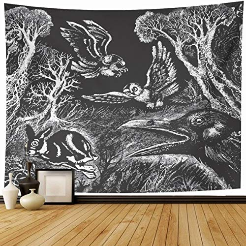 Ahawoso Tapestry 80 x 60 Inches Owl Bird Hunting Night for sale  Delivered anywhere in Canada