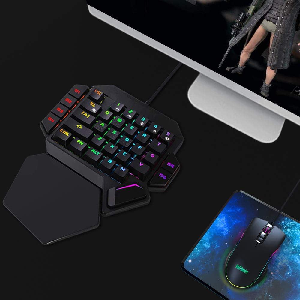 RedThunder - Teclado y ratón RGB para juegos con una sola mano, teclado mecánico con interruptor azul, ratón programable, 6400 ppp, controlador de ...