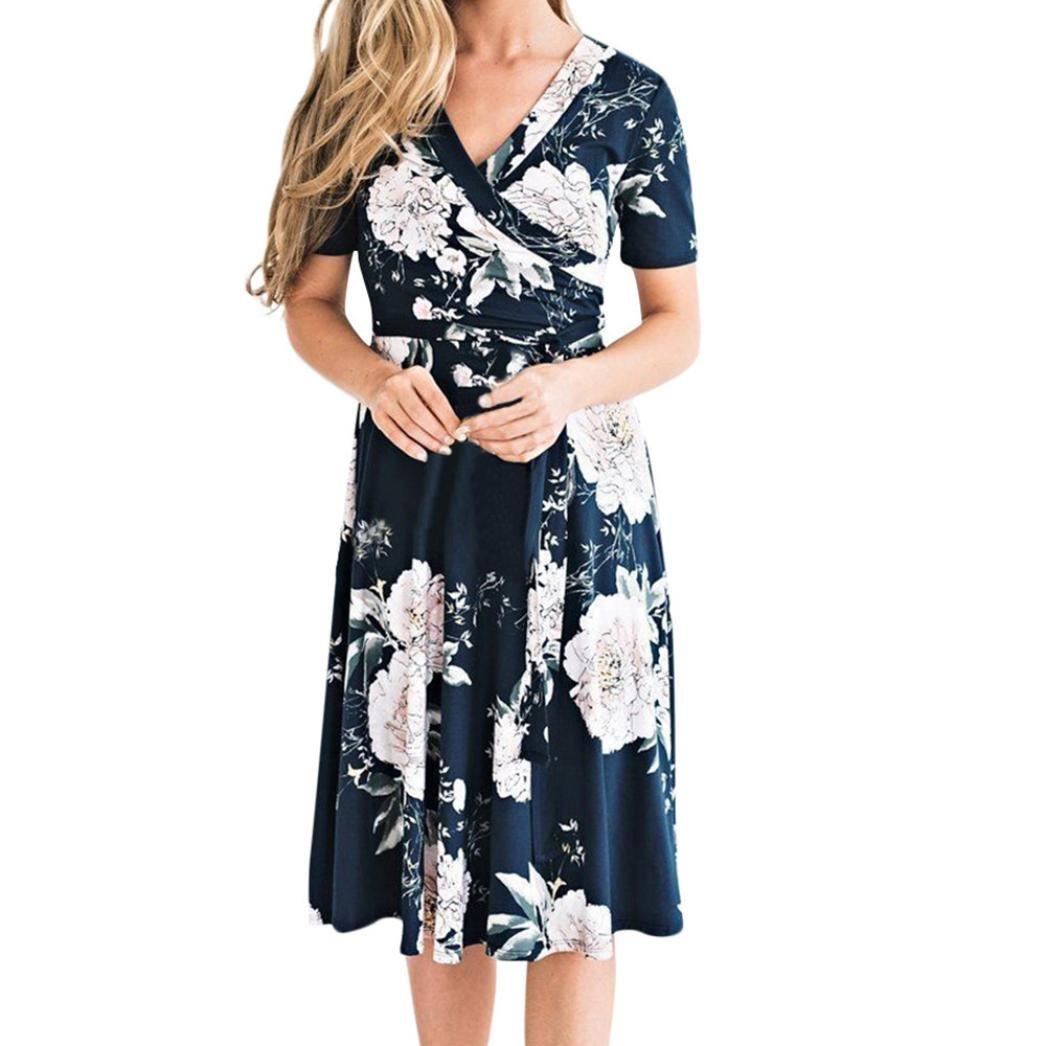 JYC Verano Falda Larga, Vestido De La Camiseta Encaje, Vestido Elegante Casual, Vestido Fiesta Mujer Largo Boda, Mujer Verano Floral Cuello en V Boho Floral ...