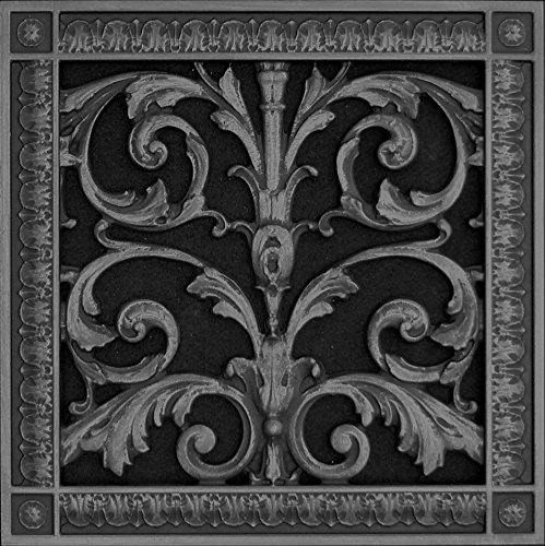"Decorative Vent Cover Grille made of Urethane Resin in Louis XIV French style fits over a 10""x 10"" Total size 12"" by 10"" for wall ceiling installation only not for floors Black"