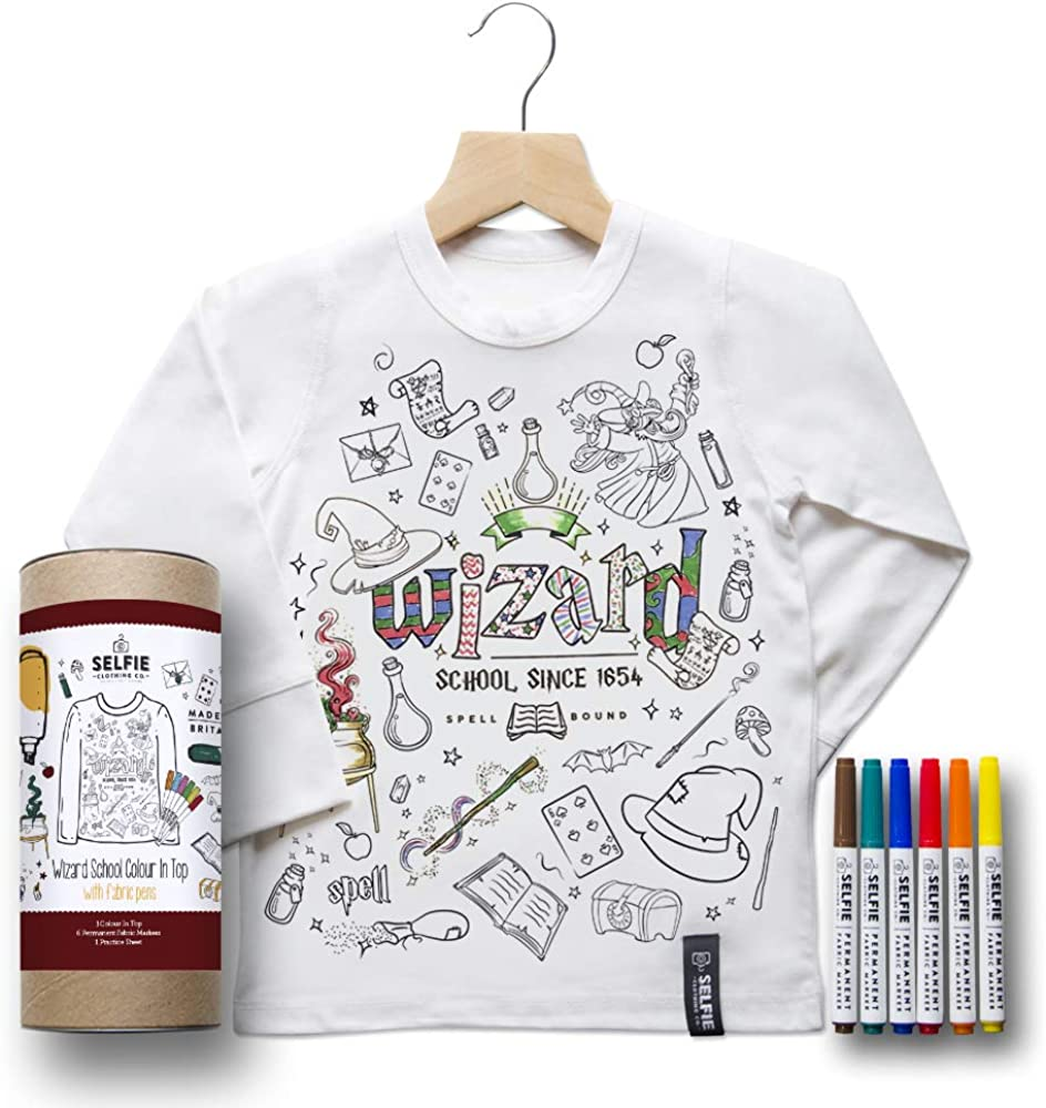 Selfie Clothing Colour in Wizard School Long Sleeved Top with Fabric Pens