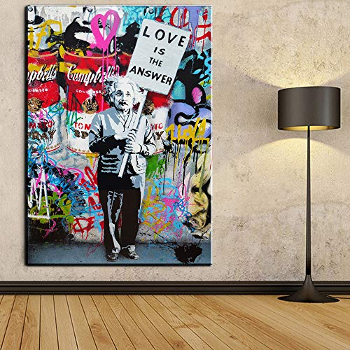 "Faicai Art Einstein Printings Pop Art Paintings Colorful Wall Art Canvas Prints and Posters Banksy Graffiti Pictures for Living Room Modern Home Wall Decor Wooden Framed 32""x48"""