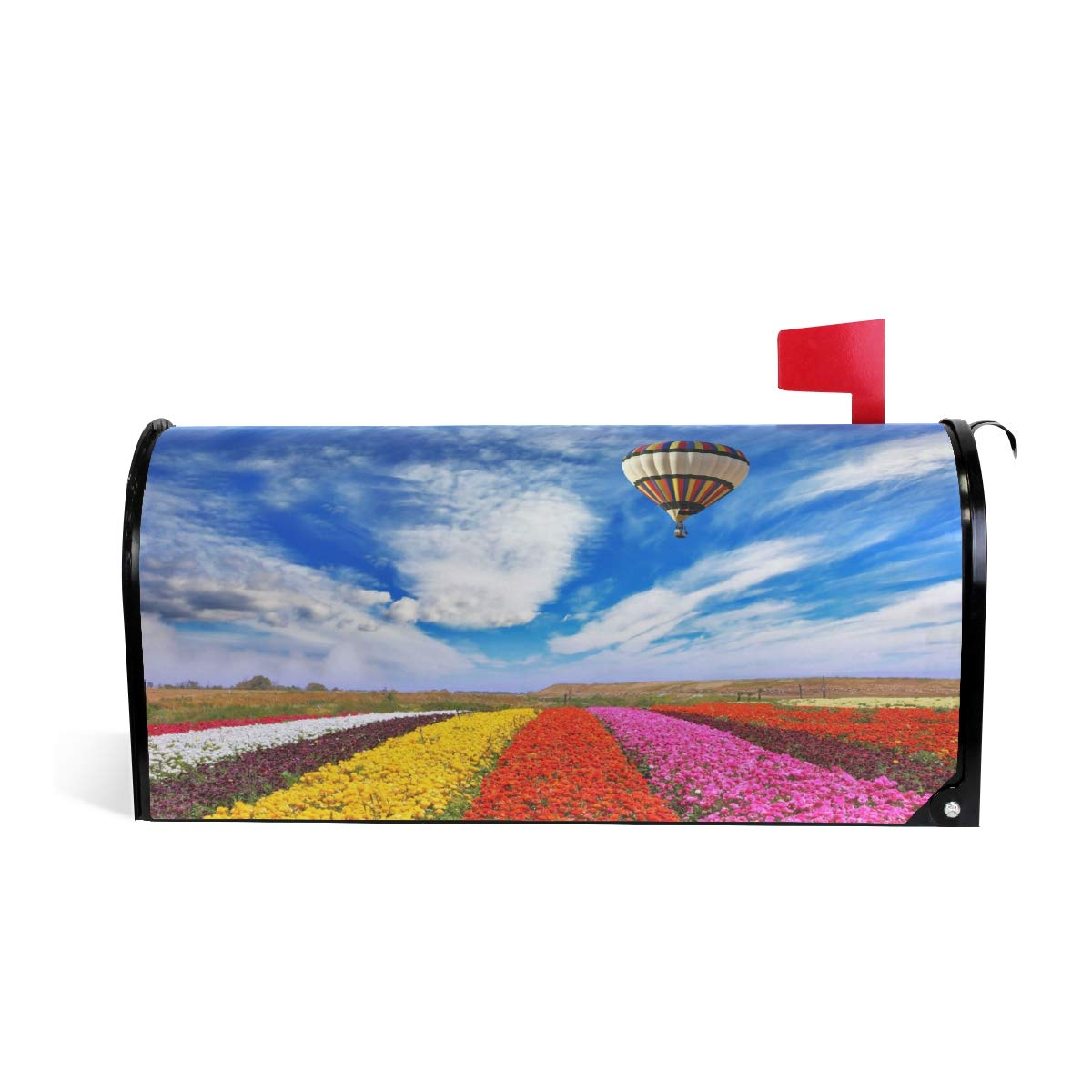 WOOR Air Balloon and Flowers Magnetic Mailbox Cover Standard Size-18''x 20.8''
