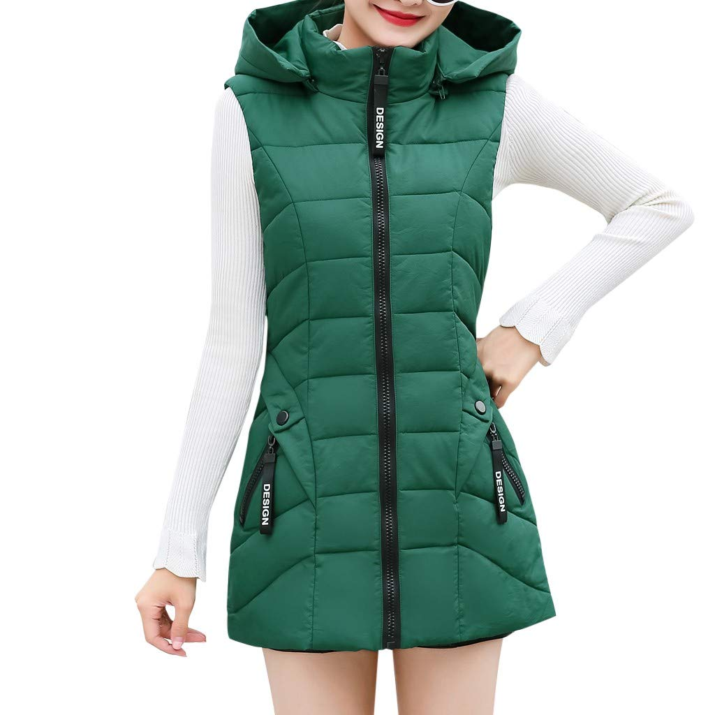 Gergeos Women's Long Puffer Vest Plus Size Lightweight Sleeveless Winter Hooded Outerwear with Pockets(Green,XXL) by Gergeos