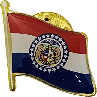 product image for Set of 3 Missouri Single Waving State Flag Lapel Pin - Made in The USA