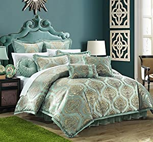 Chic Home 9 Piece Como Decorator Upholstery Quality Jacquard Motif Fabric Complete Master Bedroom Comforter Set and pillows Ensemble from Chic Home