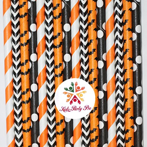 Free Shipping 100 pcs Mixed Black Orange Halloween Paper Straws, Striped Polka Dot Chevron Bat Beverage Paper Drinking Straws Bulk, Cheap Cute Kids Party Cake Pop Sticks Mason Jar -