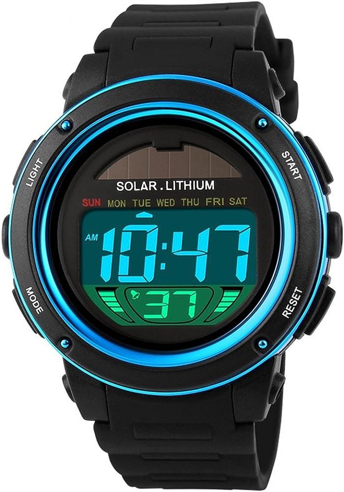 TONSHEN Unisex Solar Digitales Relojes Moda LED Outdoor 50M Resistente Agua Deportivos Plástico Bisel Y Correa Goma Multifuncional Militares Relojes de Pulsera para Hombre Mujer Chica Chico