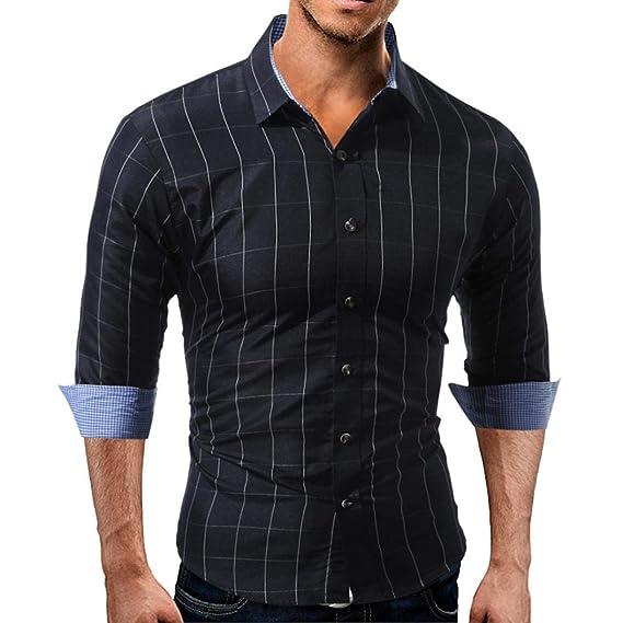 Yvelands Office Shirts Moda Guapo de los Hombres de Cuadros a Cuadros de Manga  Larga Cuello c1c55efdc89c3