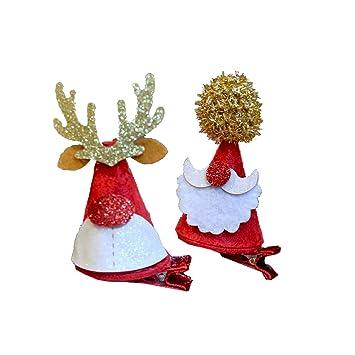 Christmas Hair Clips.Amazon Com Frcolor 4pcs Christmas Hair Clips Santa Hat