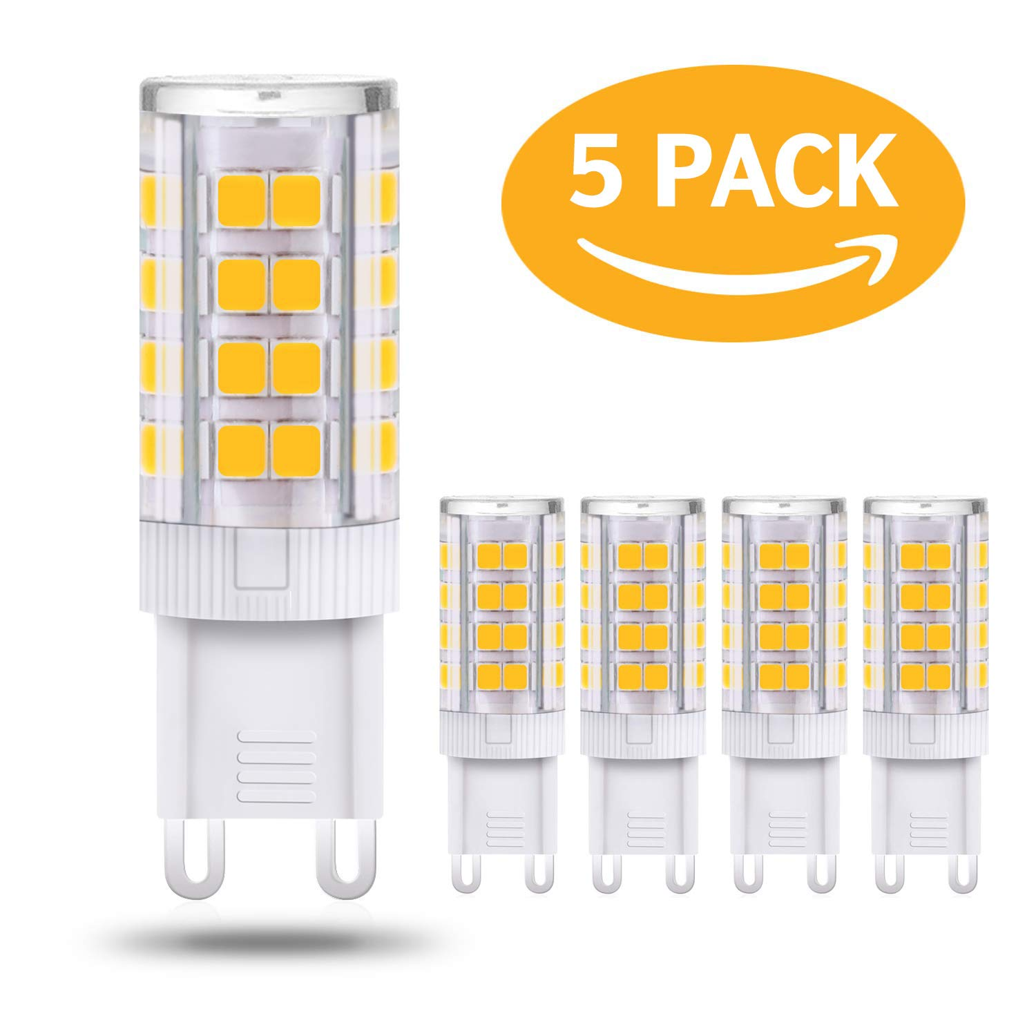4W G9 LED Bulb Non-Dimmable Warm White 3000K Replace 28W 33W 40W Halogen G9 Bulbs No Strobe, Flicker Free (5Pack)