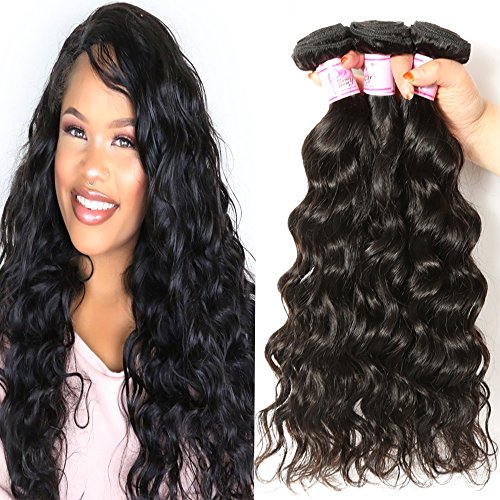 Beauty Forever Hair Brazilian Natural Wave Virgin Hair Weave 3 Bundles 100% Unprocessed Human Hair Extensions Natural Color 95-100g/pc (16 18 20) (Best Virgin Hair Wholesale Companies)