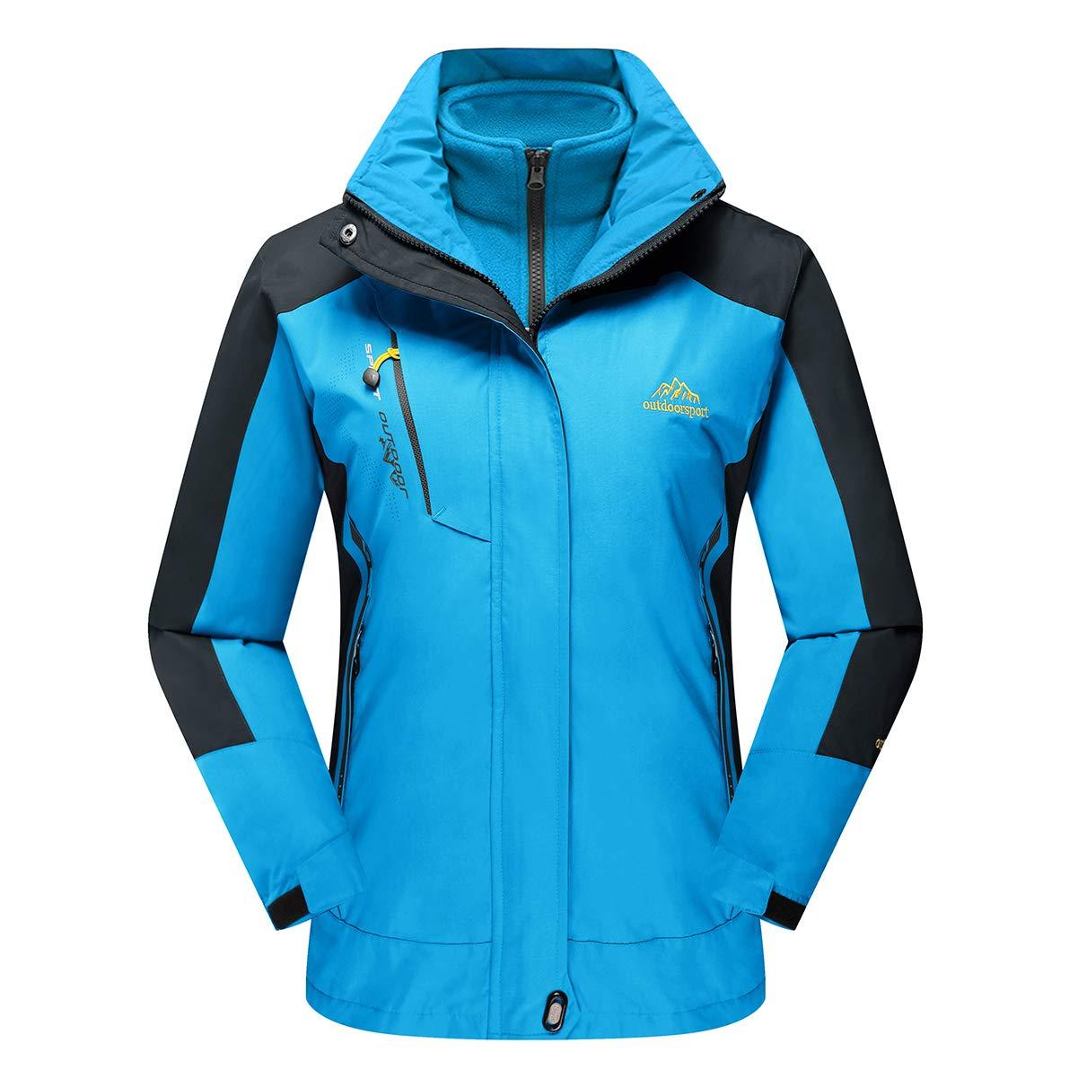 bluee CRYSULLY Women's Winter Mountain 3in1 Windbreaker Jackets Fleece Inner Rain Snow Coat Removable Hood