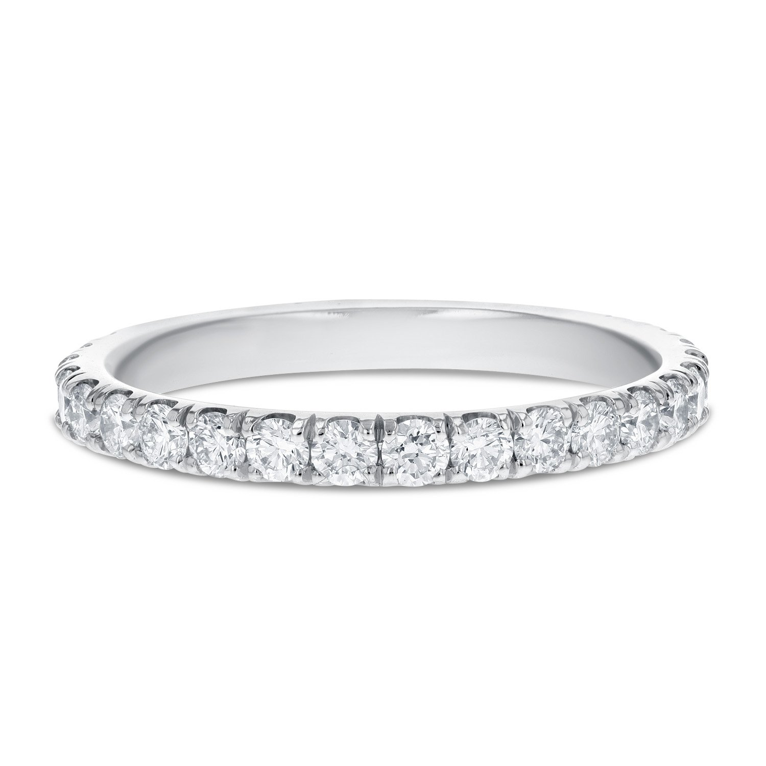 IGI Certified 18K White Gold Comfort Fit Diamond Eternity Band, 2.0mm (0.66 cttw, F-G Color, VS2-SI1)