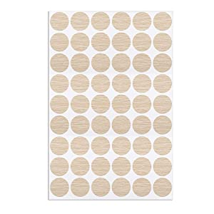 uxcell Self-Adhesive Screw Hole Stickers,1-Table Self-Adhesive Screw Covers Caps Dustproof Sticker 21mm 54 in 1 Deep Oak