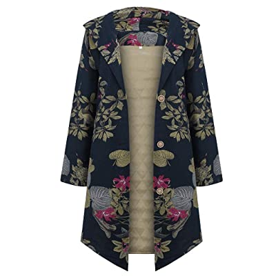 Sttech1 Women Flower Printed Lapel Collar Long Sleeves Cardigan Asymmetric Hem Wrap Warm Long Cotton Coat: Clothing