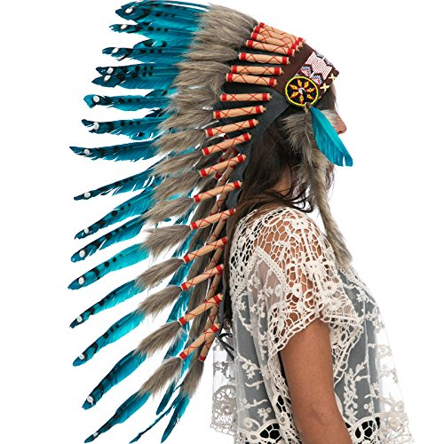 India Costume For Male (Long Feather Headdress- Native American Indian Inspired- Handmade by Artisan Halloween Costume for Men Women with Real Feathers - Aqua Duck)
