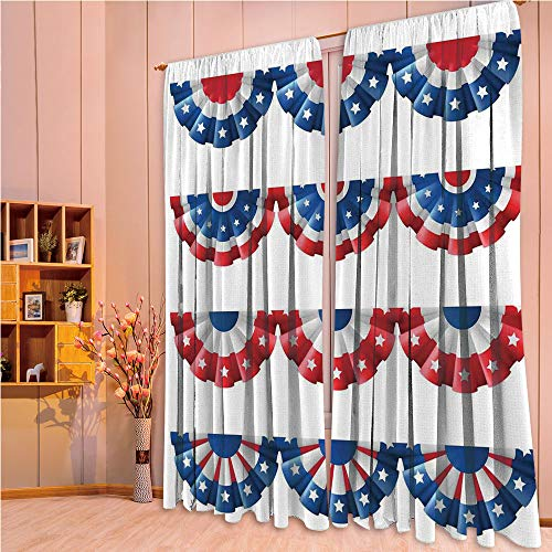 ZHICASSIESOPHIER Print Kids Curtains,Polyester Curtains Panels for Bedroom,Living Room,Bunting Election Ornament Politic Union Ribbon 108Wx95L Inch