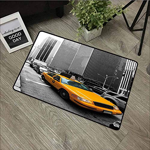 LOVEEO Welcome Doormat,City Yellow Cab in New York City Touristic Attractions Traffic Road Photography,Rustic Home Decor,31