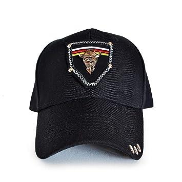 Color : Black, Size : One Size Baseball Cap for Men Women Hip Hop Sun Hat Cotton Adjustable Black Rivet 3D Printing Fashion Punk Flat Cap Hat