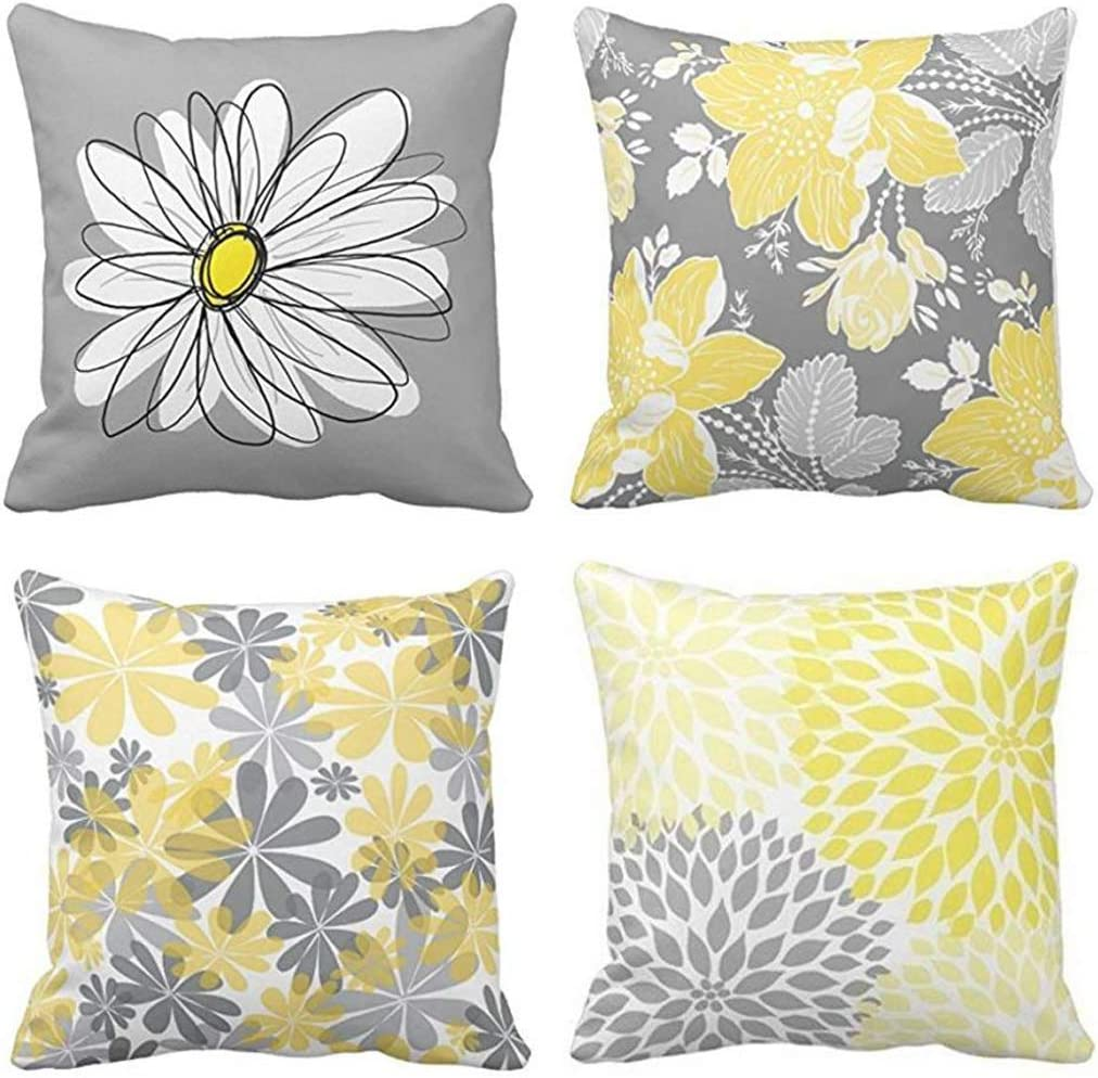 Emvency Set of 4 Throw Pillow Covers Gray and Yellow Modern Daisy with Pretty White Floral Hand Couch Sofa Decorative Pillow Cases Cushion Home Decor Square 20x20 Inches Pillowcases