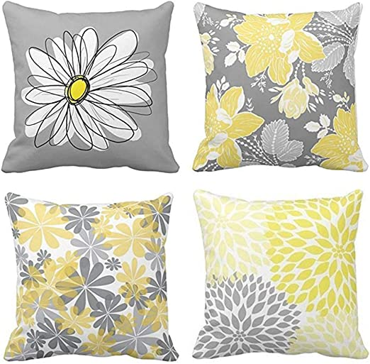 Emvency Set of 7 Throw Pillow Covers Gray and Yellow Modern Daisy with  Pretty White Floral Hand Couch Sofa Decorative Pillow Cases Cushion Home  Decor