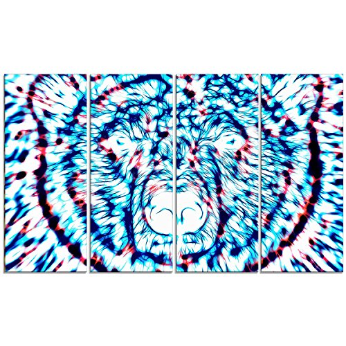 Designart de oso psicodélico arte metálico para pared - MT2361