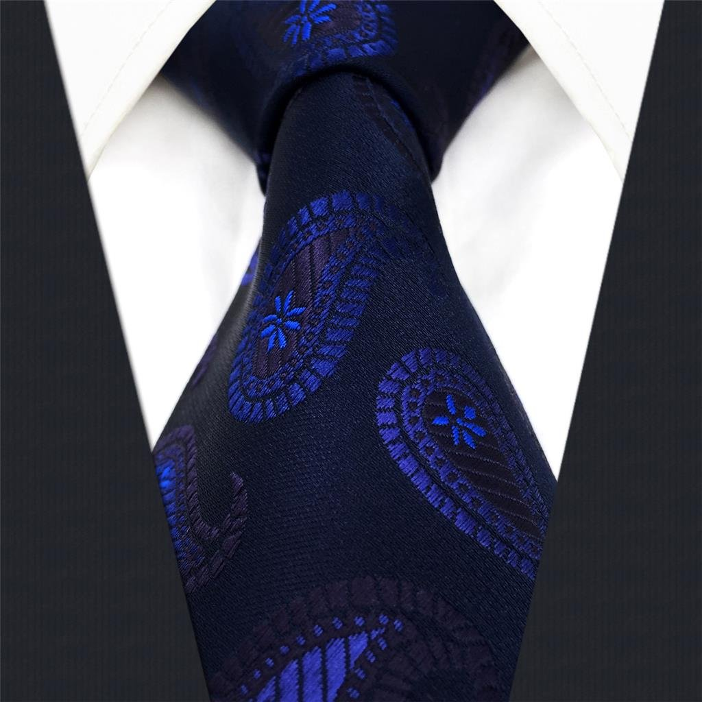shlax&wing Navy Dark Azul Cachemir Corbatas Para Hombre Seda Traje ...