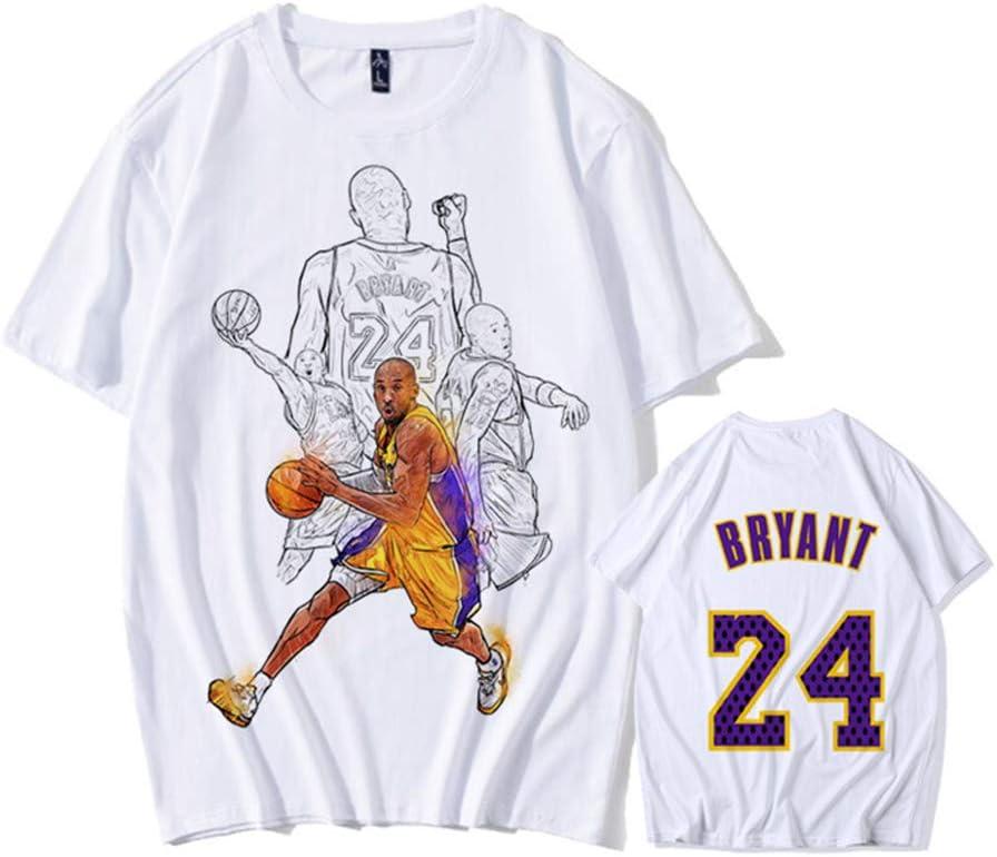 06 M 24 ZXPYZ Lakers Kobe Bryant Camiseta Conmemorativa No Ropa De Baloncesto Negro Mamba Verano De Los Hombres De Manga Corta J/óvenes Estudiantes
