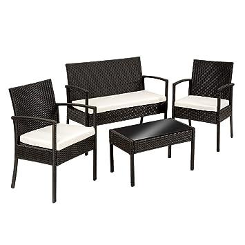 TecTake Salon de Jardin Table de Jardin en resine tressee chaises Salon  d\'exterieur Poly rotin - diverses Couleurs au Choix - (Noir | No. 402835)
