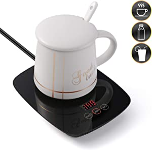 Nicelucky Mug warmer - Coffee warmer with auto shut off 25 Watt Electric Cup Warmer adjustable three temperature use for Office/desk (From 131℉ 149℉ to 167℉) (include mug)