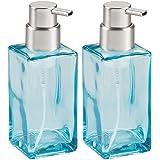 mDesign Modern Square Glass Refillable Foaming Hand Soap Dispenser Pump Bottle for Bathroom Vanities or Kitchen Sink…