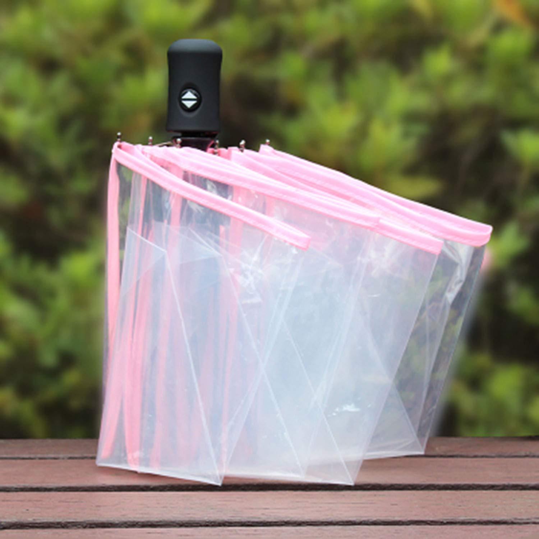 Kompakter vollautomatischer Regenschirm DREI faltende klare windundurchlässige Regenschirme Frauen-Mann-8 Rippe regensicheres Transparentes Regenschirm-Geschenk, weiß Rosa FairytaleMM