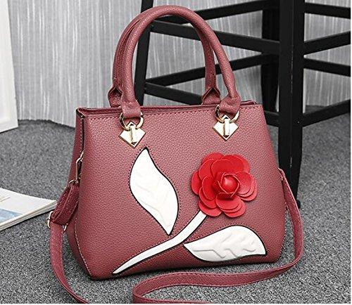 Top Handbag Bag Bags Tote Pink Leather Bag Women's Crossbody PU Shoulder Mogor Handle Rose IaYxSf0