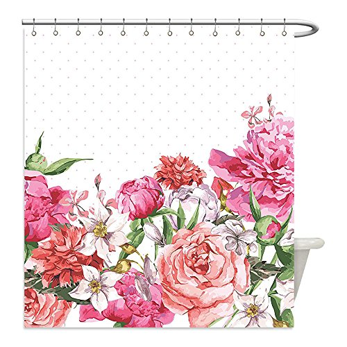 Diy Hunter And Deer Costume (Liguo88 Custom Waterproof Bathroom Shower Curtain Polyester Floral Blooms Bouquet Botany Rose Peony Wild Lily Love Watercolor Art Hot Pink Dark Coral Hunter Creen Decorative bathroom)