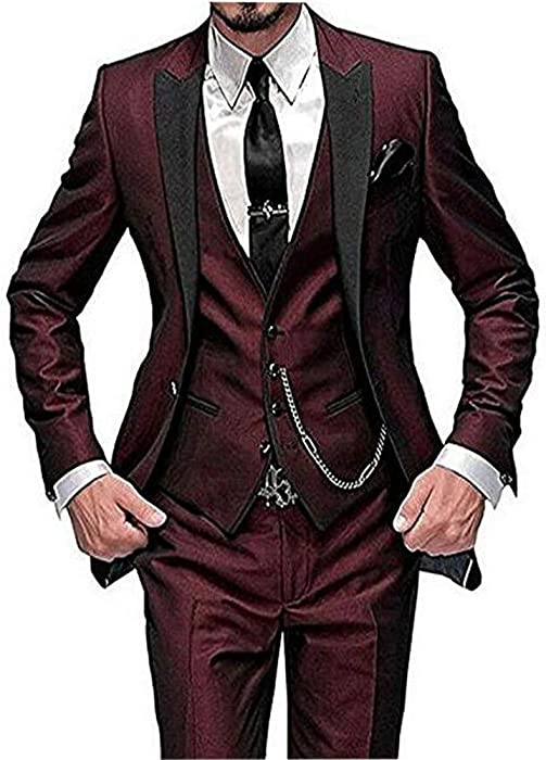3f7ca933693671 One Button 3 Pieces Burgundy Wedding Suits Notch Lapel Mens Suits Groom  Tuxedos