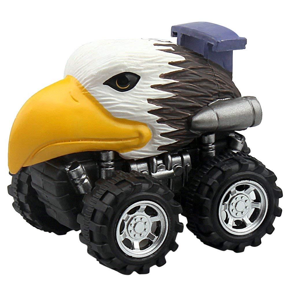 erthome Dinosaur Car, Animal Children Gift Toy Dinosaur Model Mini Toy Car Gift Pull Back Cars Toy (4PC)
