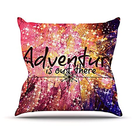 Kess InHouse EBI Emporium Adventure is Out There Throw Pillow Pink Typography 18 x 18