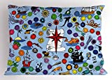 Lunarable Board Game Pillow Sham, Pirate Themed Game Start and Finish Colorful Spots Sea Animals Nautical Symbols, Decorative Standard King Size Printed Pillowcase, 36 X 20 inches, Multicolor