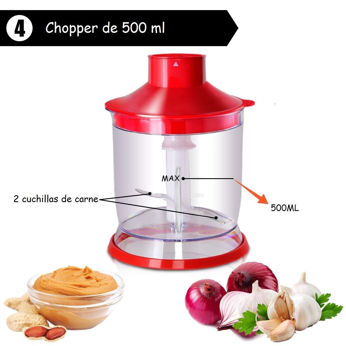 COSTWAY Batidora de Mano Conjunto Mezclador Trituradora Procesador de Alimentos Acero Inoxidable 1000W Velocidad Continua (Rojo): Amazon.es: Hogar