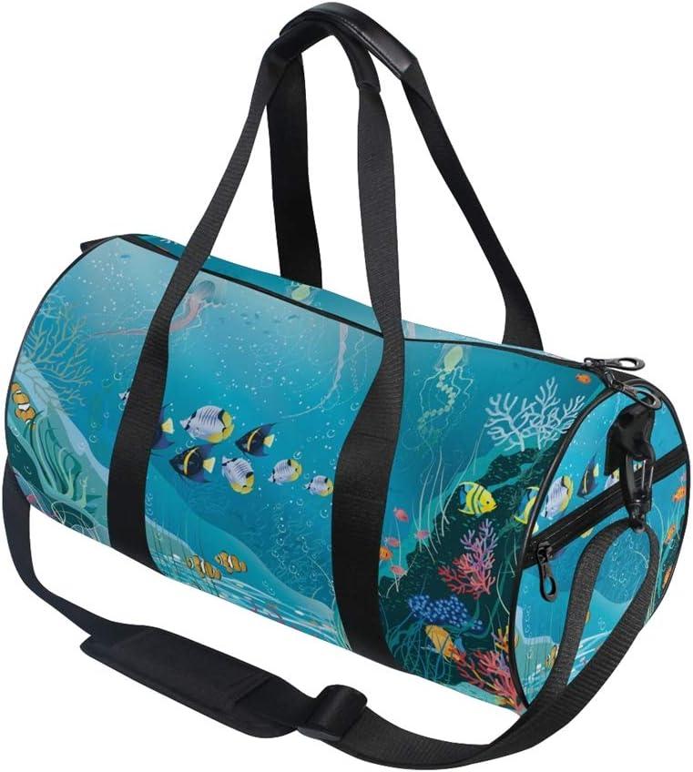 Tropical Fish Kelp Duffle Bag Sports Travel Luggage Gym Duffel Bag for Women Men