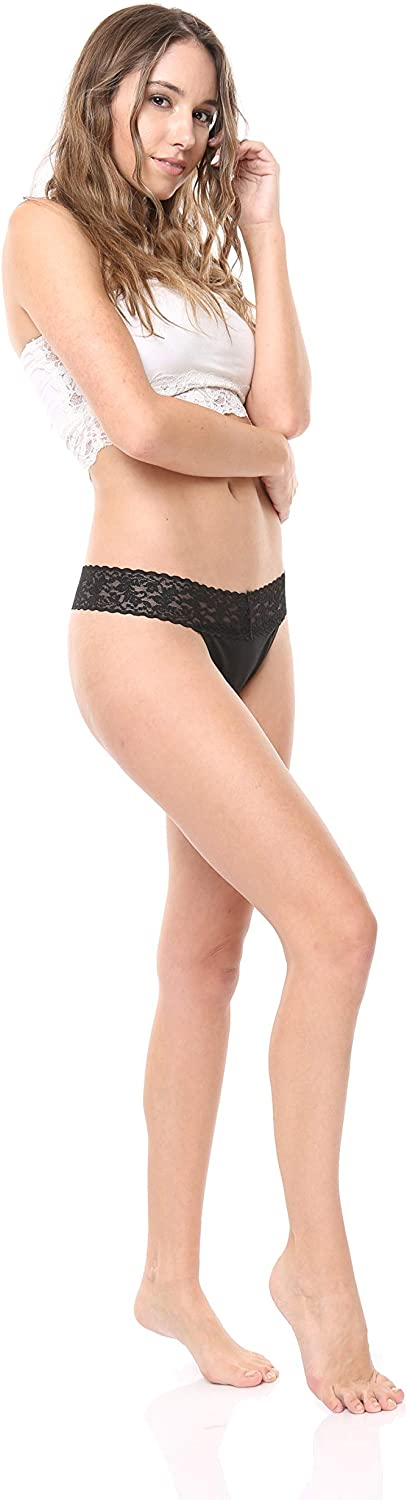 Lace Band Cotton Thong Panties Free to Live 6 Pack Womens Underwear