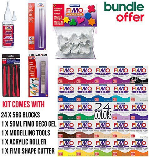 UK HOME STORES - 24x56g Blocks of Fimo Soft Starter Pack 24x56g Multicolour Blocks All colours by UK Home Stores
