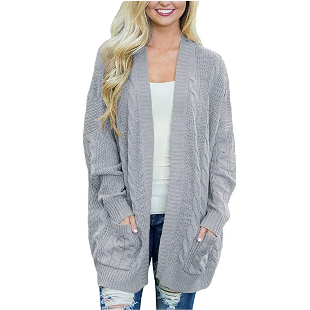 Women's Winter Open Front Solid Pocket Knit Cardigan, HOMEBABY Ladies Solid Long Sleeve Blanket Cape Boyfriend Sweater Coat Capes Jacket Knitwear Outwear Plus Size