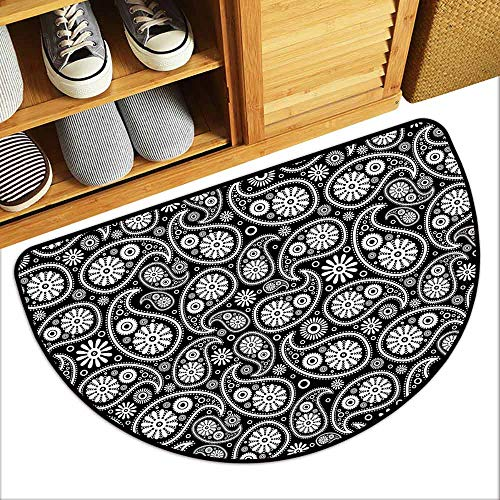 (YOFUHOME Black and White Thin Door mat Nostalgic Paisley Teardrop Motifs with Florals Persian Culture and Art Breathability W29 x L17 Black White)