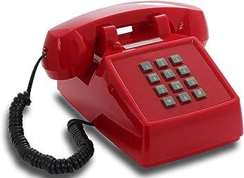 OPIS PushMeFon Cable: teléfono Fijo Retro de Teclado de los años 1970 con Campana metálica (Rojo): Amazon.es: Electrónica