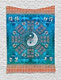 Ambesonne Home Decor Collection, Ying and Yang Print Octagon Circle with Asian Ethnic Balance Wisdom and Harmony Yoga Art, Bedroom Living Room Dorm Wall Hanging Tapestry, Teal Orange
