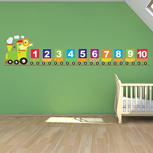 Number Train Wall Sticker Lion Wall Decal Baby Nursery Home Decor Available  In 8 Sizes Small