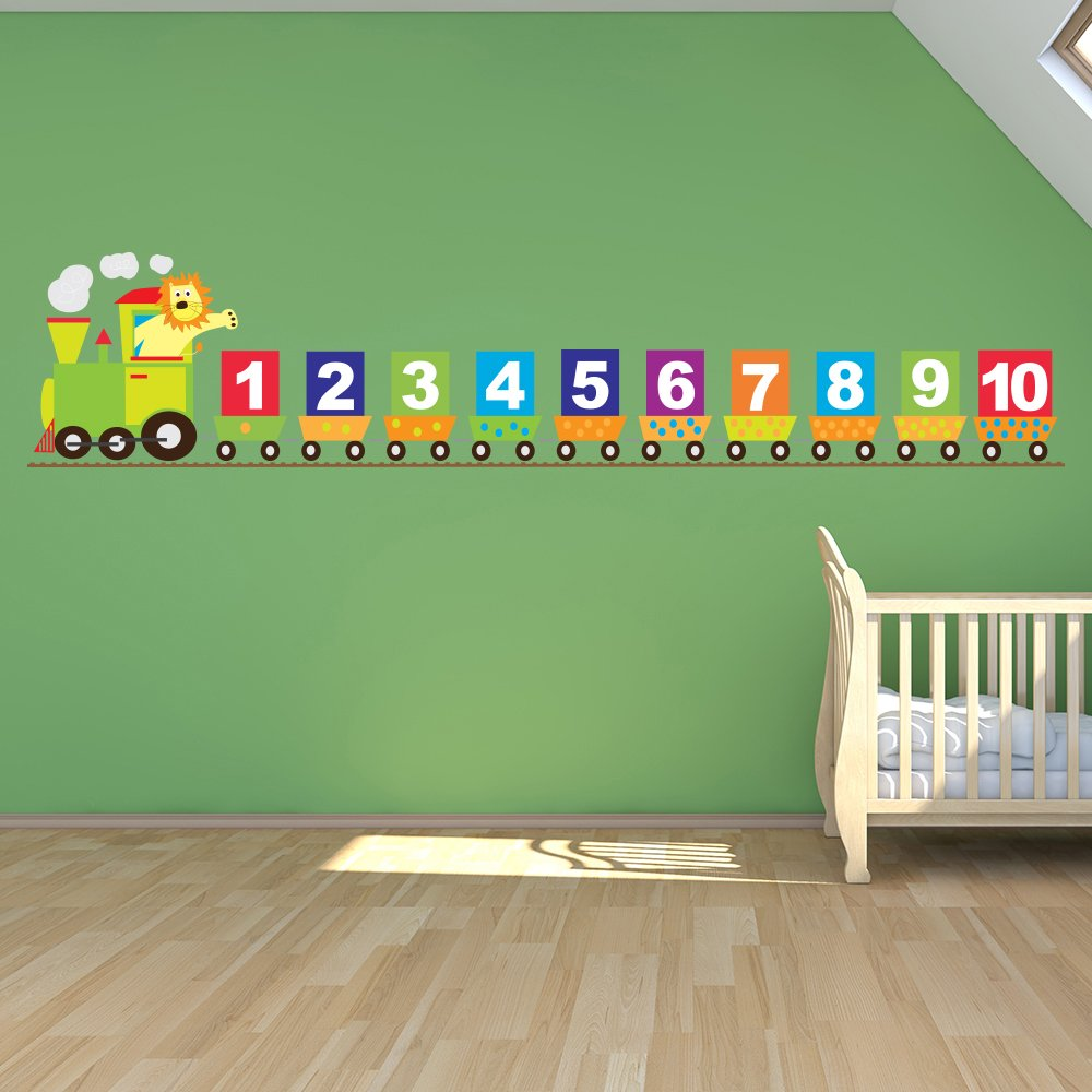 Number Train Wall Sticker Lion Wall Decal Baby Nursery Home Decor available in 8 Sizes Gigantic Digital